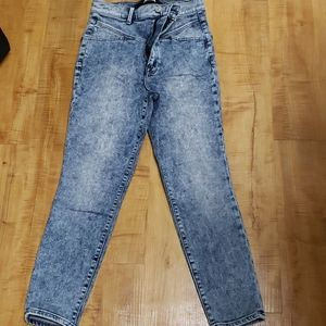 Express high rise acid wash jeans